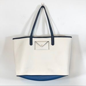 MARC BY MARC JACOBS Later Leather Tote White Navy